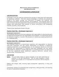 Warehouse Supervisor Sample Job Description Storekeeper Samples