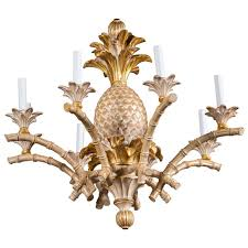 italian carved wood pineapple chandelier for