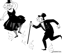 Senior Couple Dressed In Retro Fashion Tap Dancing Eps 8 Vector