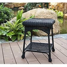image black wicker outdoor furniture. amazoncom jeco wicker patio end table in black lawn u0026 garden image outdoor furniture