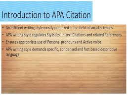 Introduction To Apa Citation Style Authorstream