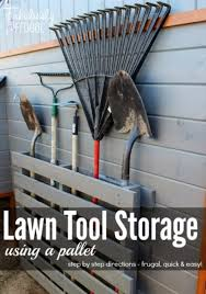DIY Projects Your Garage Needs -Lawn Tool Storage Using A Pallet - Do It  Yourself