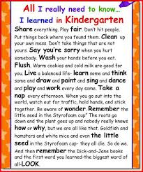 all i need to know i learned in kindergarten essay kristal all i need to know i learned in kindergarten essay