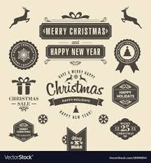 Christmas Logos And Medals In A Retro Style For