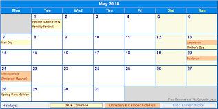 Wincalendar Com Printable Calendar May 2018 Calendar With Holidays Calendar For 2019