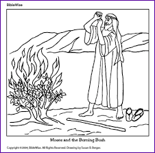 Small Picture Coloring Moses and the Burning Bush Kids Korner BibleWise