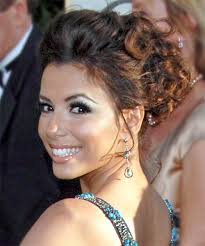 eva longoria parker updo long curly formal wedding updo side view