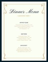 Formal Dinner Menu Template Best Cream And Blue Fancy Border Dinner Menu Templates By Canva