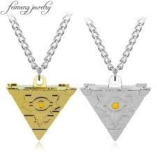 whole feimeng jewelry anime yu gi oh necklace game yugioh 3d millenium puzzle pendant pyramid egyptian eye of horus necklace for men gold jewellery