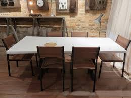 industrial steel chairs and wood table