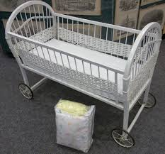 Antique Baby Cribs Antique Vintage White Wicker Baby Bassinet On Wheels Bedding