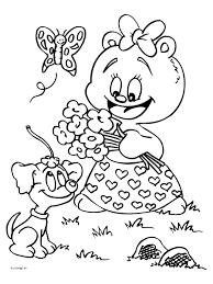 Schattig Meisje Kleurplaten Kleurplaat Beertje Met Bloemen