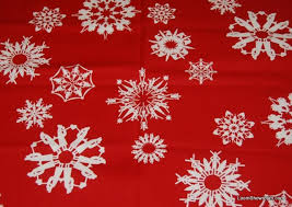 Christmas Bright White Snowflakes Hidden Picture Scene Silouhette ... & Christmas Bright White Snowflakes Hidden Picture Scene Silouhette Vibrant  Red background Cotton fabric Quilt fabric T04 Adamdwight.com