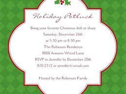 Potluck Wording On Invitation Christmas Potluck Dinner Invitation