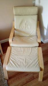 ikea poang cream leather chair and footstool