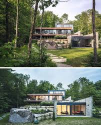 modern home architecture stone. Simple Stone Wood And Stone Cover The Exterior Of This MultiLevel Modern House In  Forest With Home Architecture A