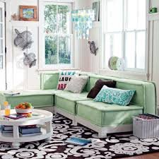 Mint Green Living Room Decor Mint Green L Shaped Sofa And Floral Printed Rug For Classic