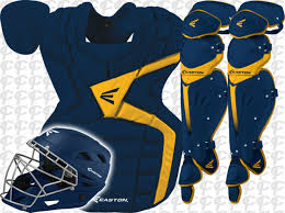 Easton Catchers Gear Size Chart Easton Mako M7 Combo Baseball Catchers Gear Set Navy Blue Gold Adult New