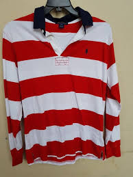 details about boys youth polo by ralph lauren red blue l s rugby shirt size l 14 16