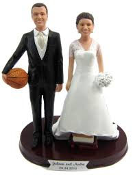 Tall Basketball Player Groom W Interchangeable Bride Cake Topper