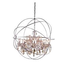 elegant lighting geneva 18 light polished nickel chandelier with golden teak smoky crystal 1130g43pn gt rc the home depot