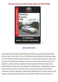 Toyota Avensis Workshop Manual 2003 2008 by WinfredThurman - issuu