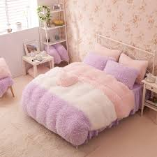 purple white pink girls cashmere wool velvet ruffle queen size duvet cover bedding sets
