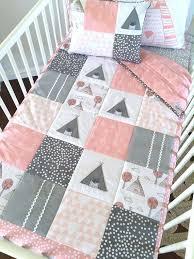 Best 25+ Baby patchwork quilt ideas on Pinterest | Baby quilt ... & Little Teepee Patchwork Cot Quilt pink by AlphabetMonkey on Etsy Adamdwight.com