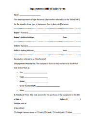 how to make bill of sale equipment bill of sale form download create edit fill
