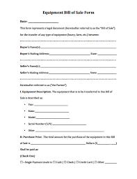 Equipment Bill Of Sale Form Download Create Edit Fill