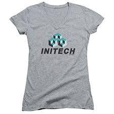 office e initech logo junior v neck athletic heather sm