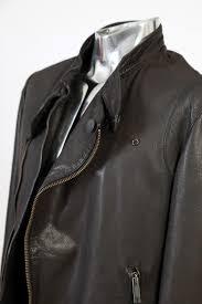 emporio armani brown grey leather jacket eu52 large rrp 895 biker