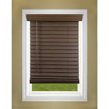 interior brown 1 inch faux wood blinds with brown accent wall