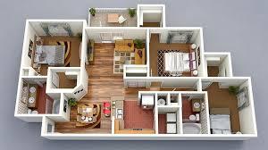 3 Bedroom House Floor Plan 3D