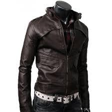 strap slim fit dark leather jacket brown for men
