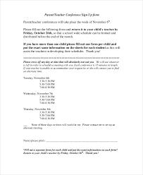 parent teacher conference letter to parents examples 9 parent teacher conference forms free sample example