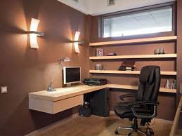 wall color for office. Brown Wall Color With Wooden Floating L Shaped Desk For Small Office Ideas Black Leather Ergonomic Chair And Ambient Lighting N
