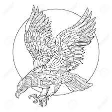 イーグル鳥の大人図のための塗り絵大人のための着色抗ストレス入れ墨のステンシルですスタイル黒と