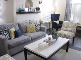 blue and yellow living room grey and