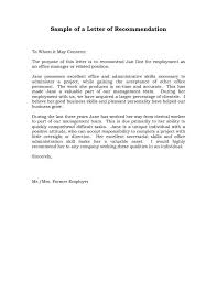 Recommendation Letter For Office Assistant Reference Letter Of Recommendation Sample Sample Manager