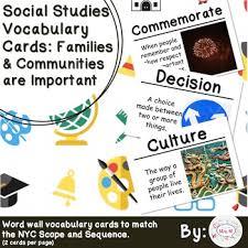 1st Grade Social Studies Vocab Cards Families Communities Are Important L