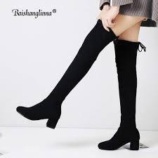 senarai harga baishanglinna women boots 2018 genuine leather thigh high boots y female winter boots women