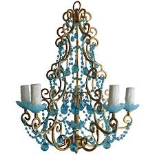 french macaroni beaded aqua blue chandelier for