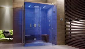 glass shower stall with bench