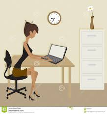 office furniture women. Simple Clip Art Office Scene Royalty Free Stock Photography Furniture Women