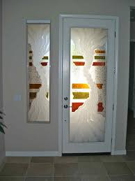 entry door and sidelite glass etched painted and carved rustic eclectic by sans soucie