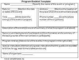 Free Event Program Template Gallery - Template Design Ideas