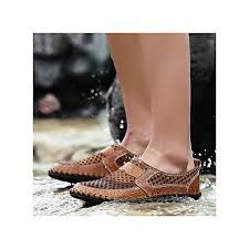 eur size 38 50 summer breathable mesh leather shoes mens casual shoes slip on fashion