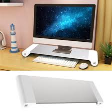 besegad aluminum alloy metal monitor stand space bar dock desk riser with 4 usb ports for