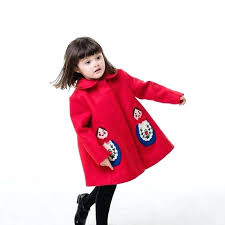 infants pea coat kids long winter faux wool toddler girls princess jacket with embroidered doll for